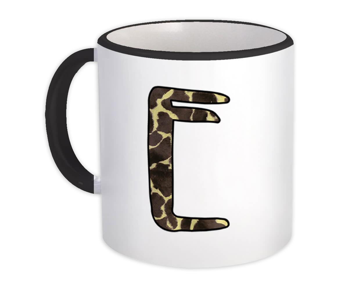 Monogram Letter E : Gift Mug Giraffe Letter Initial ABC Animal Print