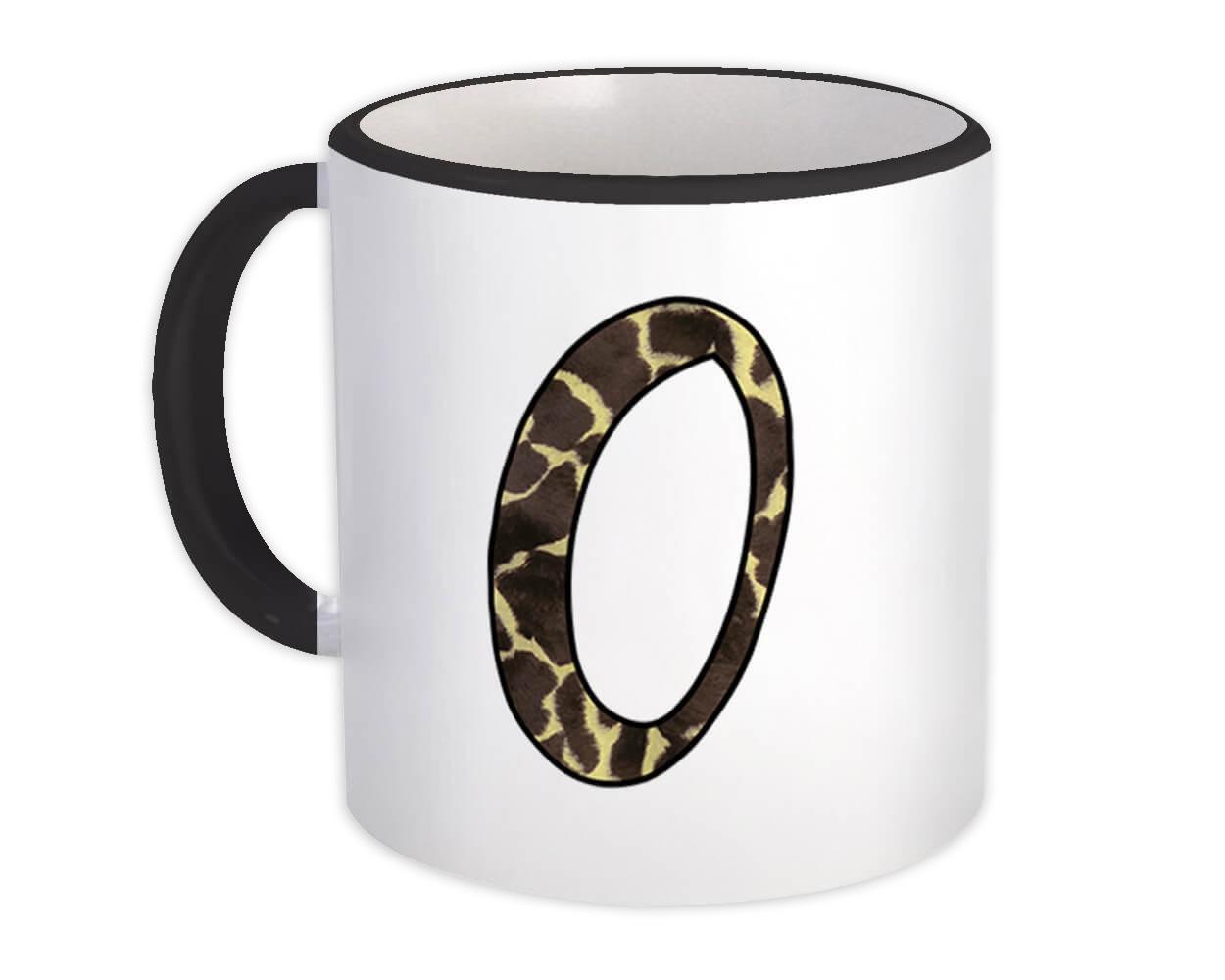 Monogram Letter O : Gift Mug Giraffe Letter Initial ABC Animal Print