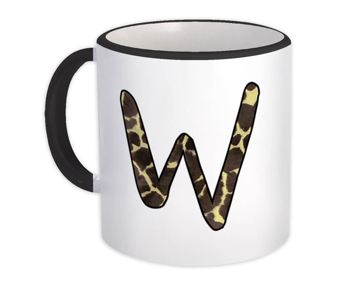 Monogram Letter W : Gift Mug Giraffe Letter Initial ABC Animal Print
