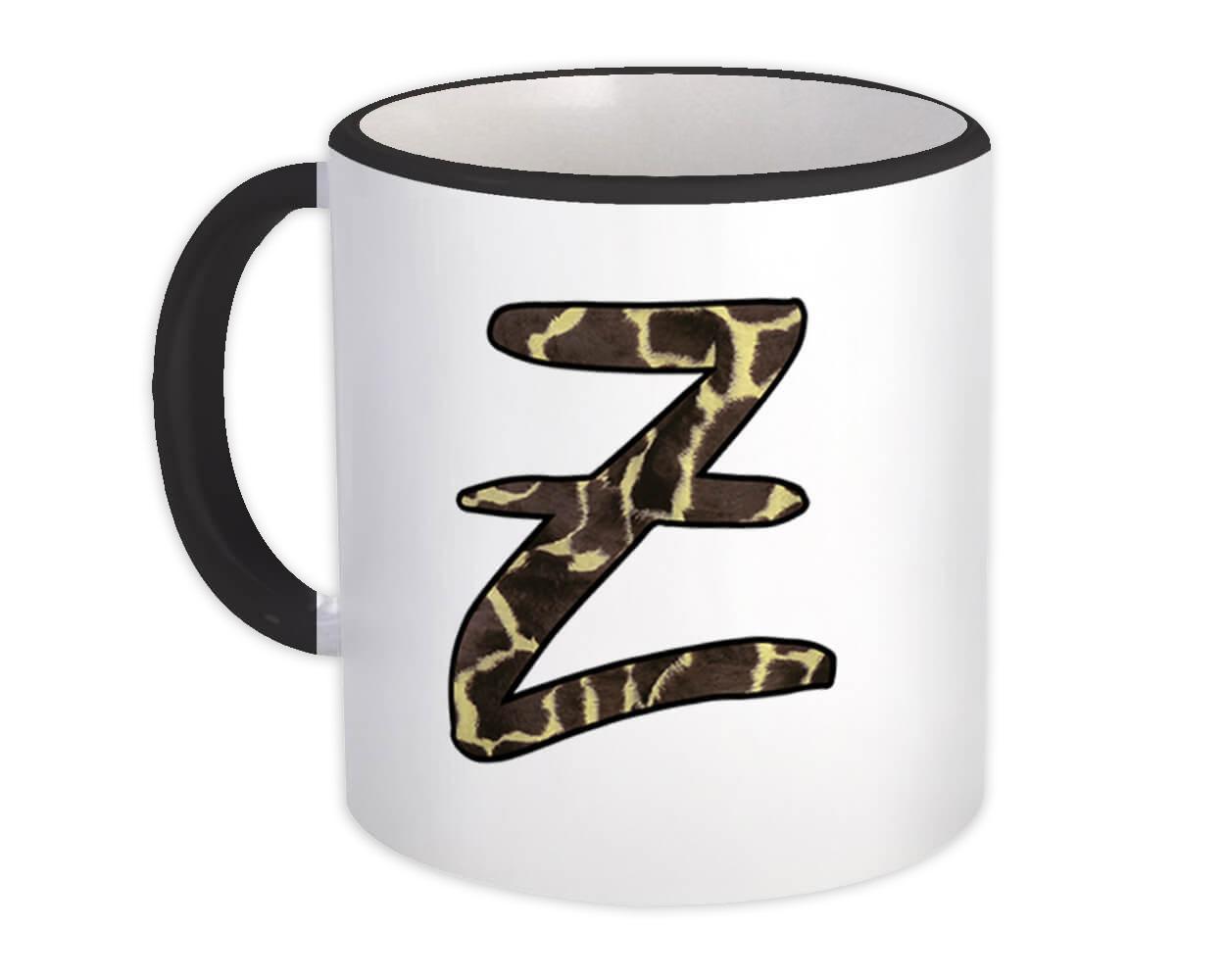 Monogram Letter Z : Gift Mug Giraffe Letter Initial ABC Animal Print