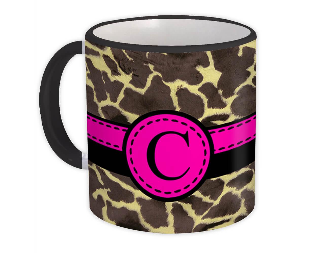 Monogram Letter C : Gift Mug Giraffe Letter Initial ABC Animal Pink