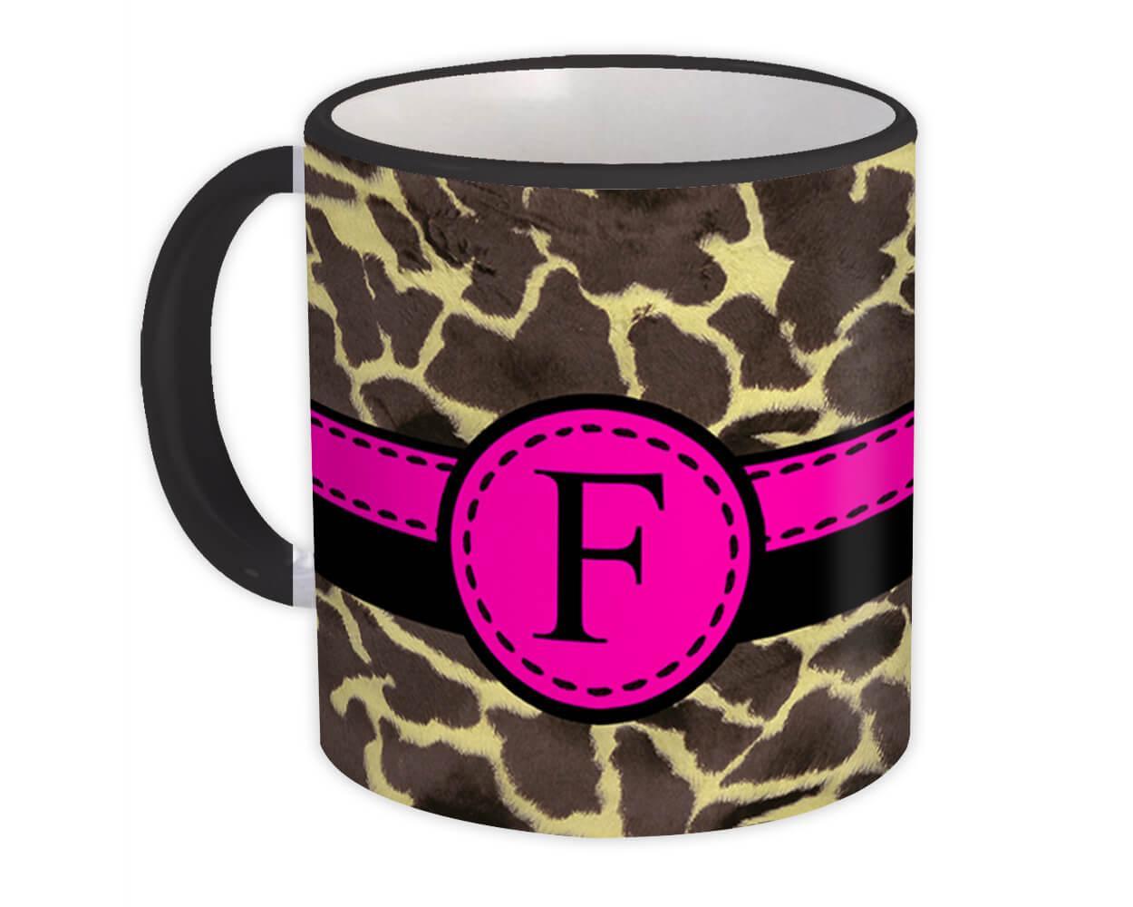 Monogram Letter F : Gift Mug Giraffe Letter Initial ABC Animal Pink