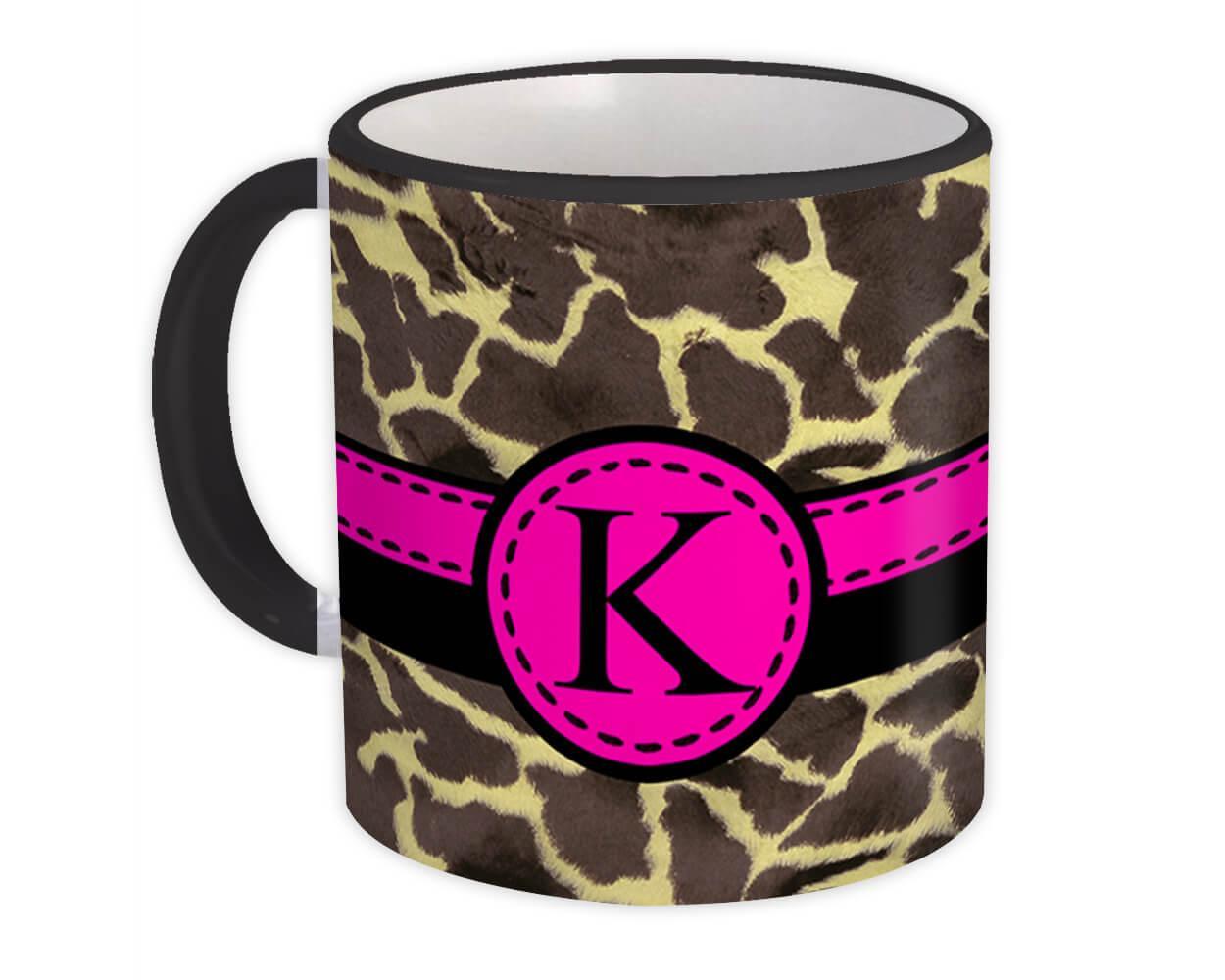 Monogram Letter K : Gift Mug Giraffe Letter Initial ABC Animal Pink