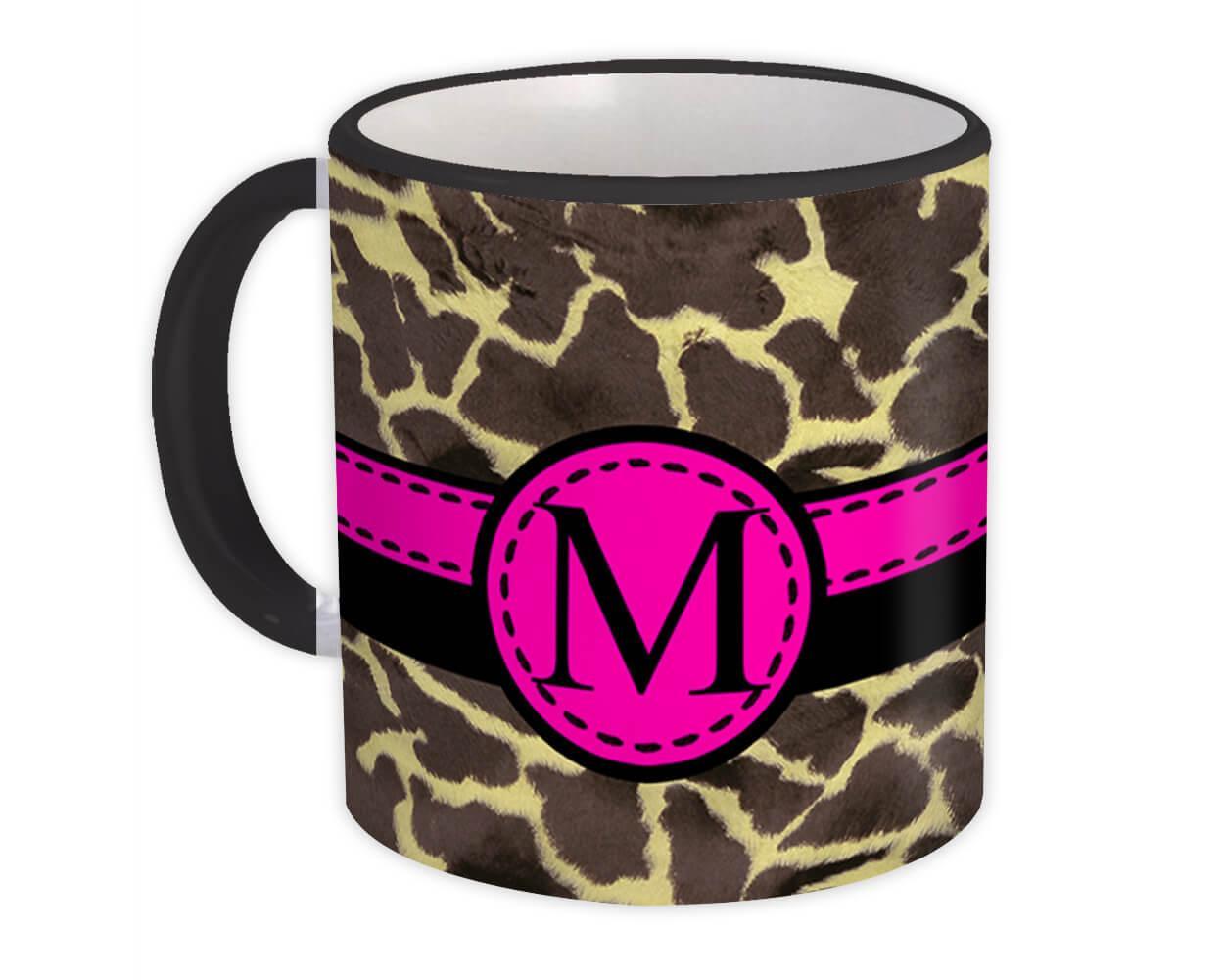 Monogram Letter M : Gift Mug Giraffe Letter Initial ABC Animal Pink