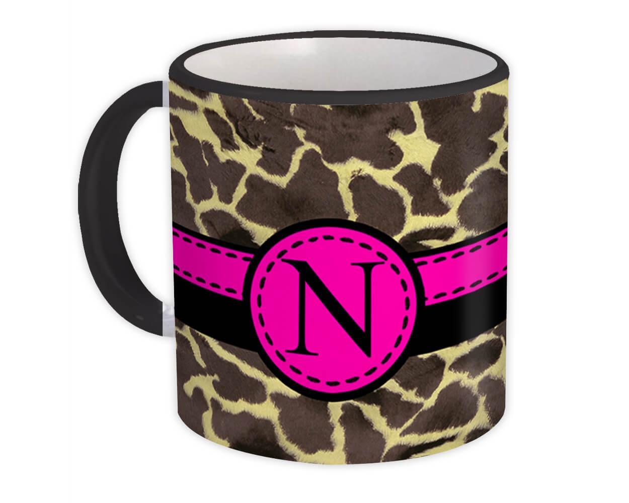 Monogram Letter N : Gift Mug Giraffe Letter Initial ABC Animal Pink