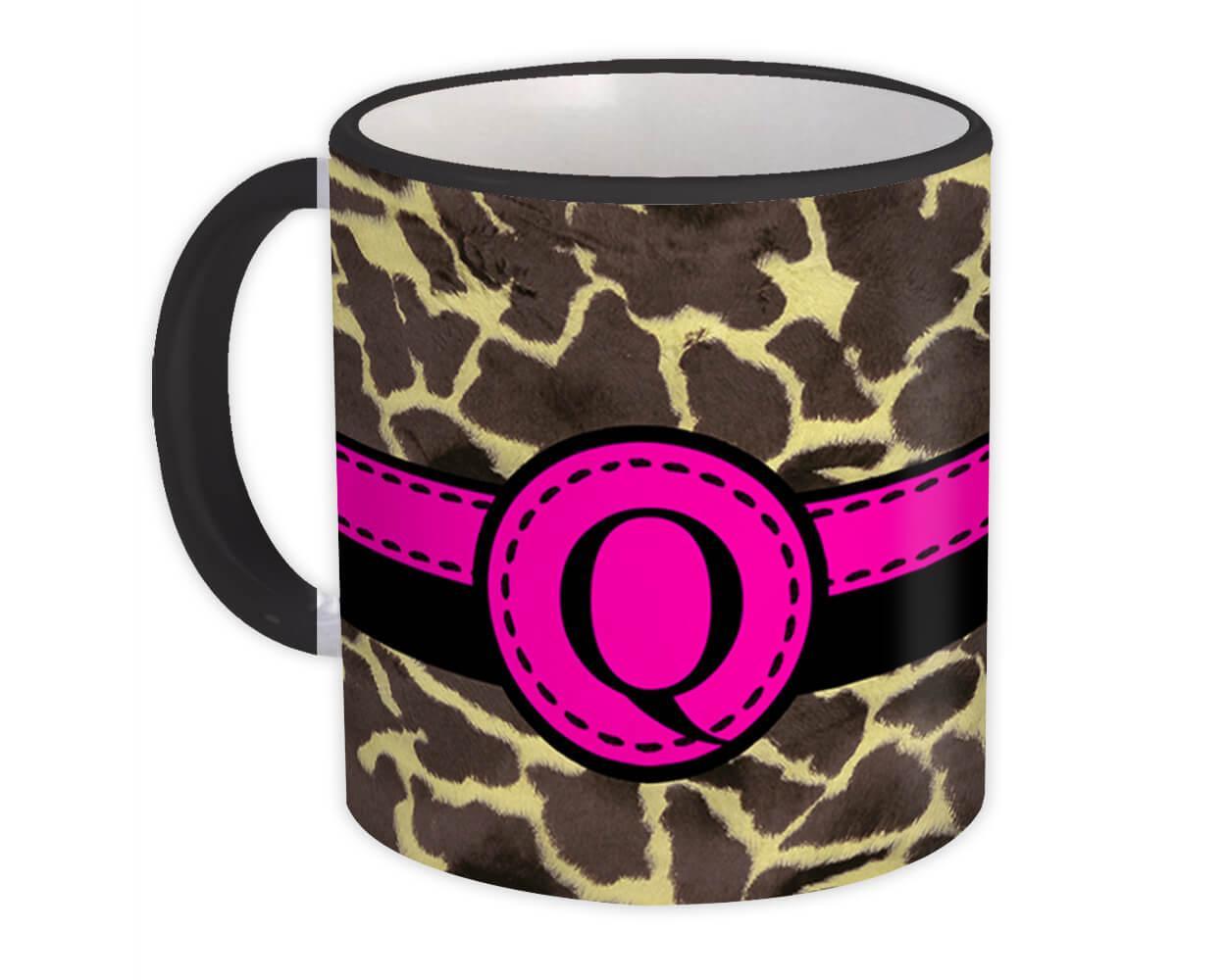 Monogram Letter Q : Gift Mug Giraffe Letter Initial ABC Animal Pink