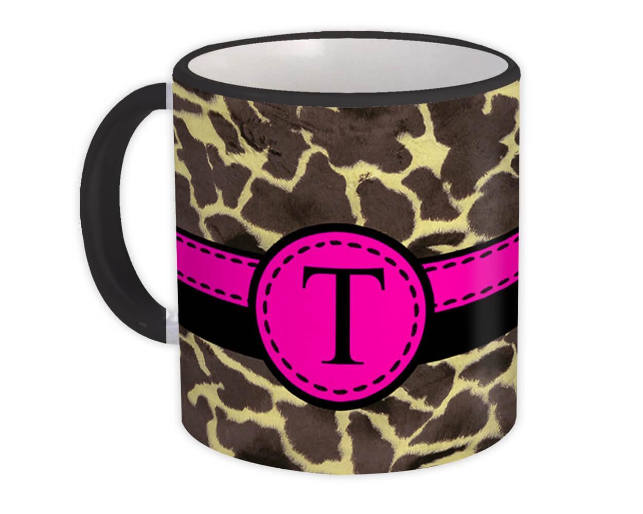 Monogram Letter T : Gift Mug Giraffe Letter Initial ABC Animal Pink