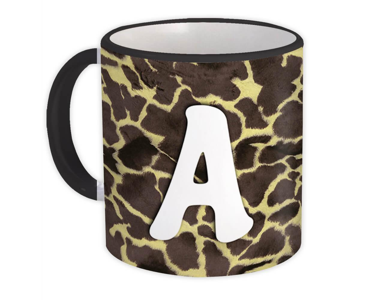 Monogram Letter A : Gift Mug Giraffe Letter Initial ABC Animal Print