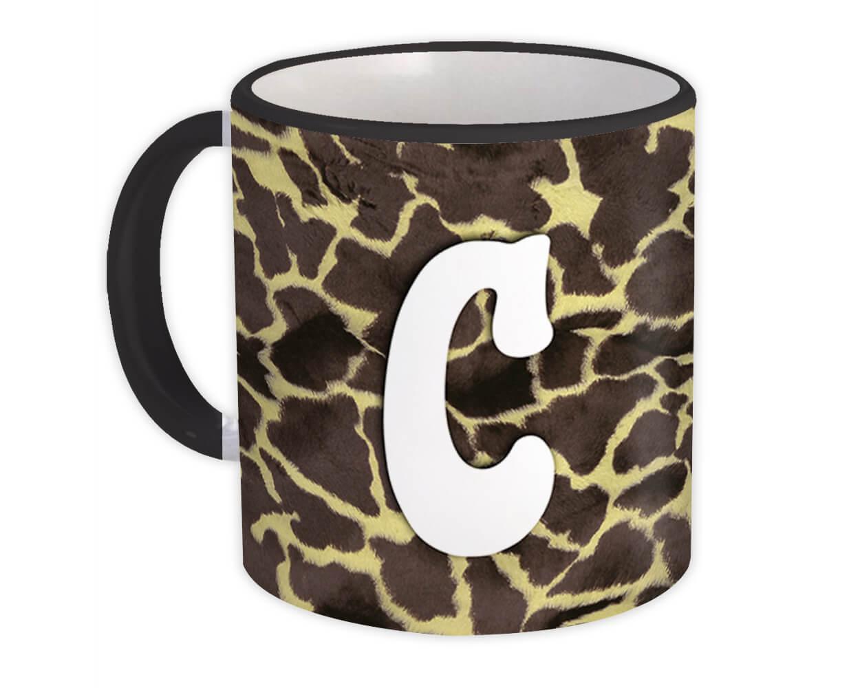 Monogram Letter C : Gift Mug Giraffe Letter Initial ABC Animal Print