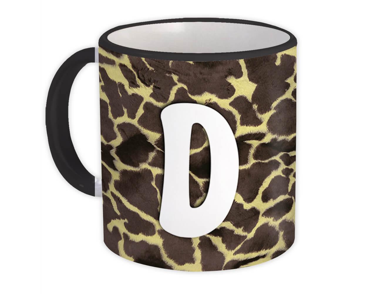 Monogram Letter D : Gift Mug Giraffe Letter Initial ABC Animal Print