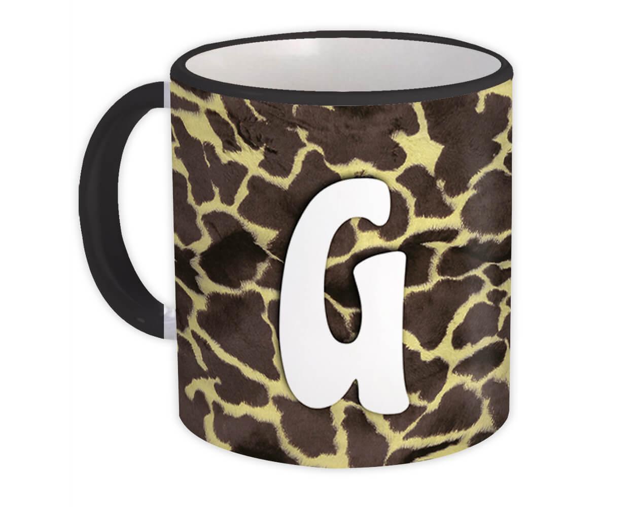 Monogram Letter G : Gift Mug Giraffe Letter Initial ABC Animal Print