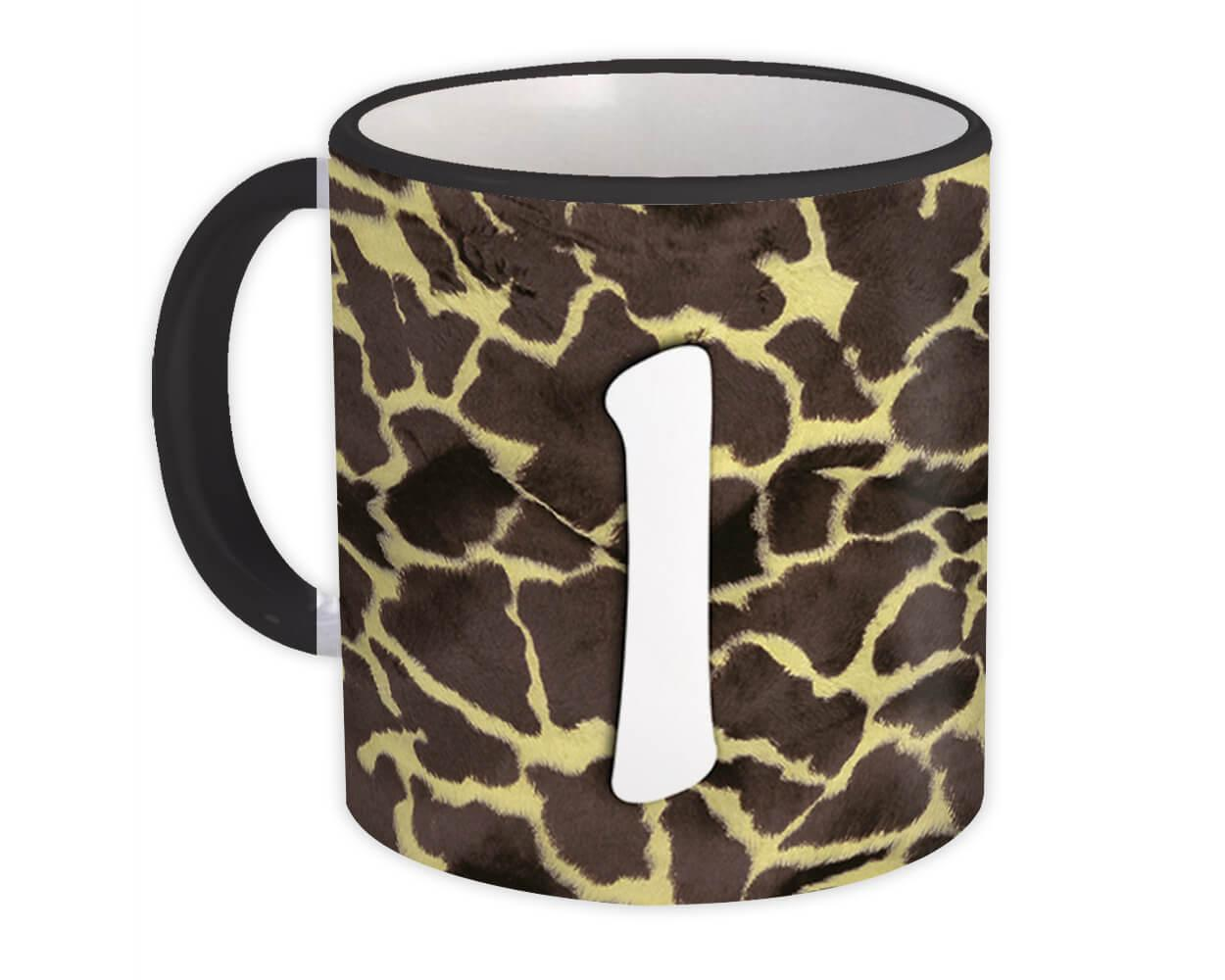 Monogram Letter I : Gift Mug Giraffe Letter Initial ABC Animal Print