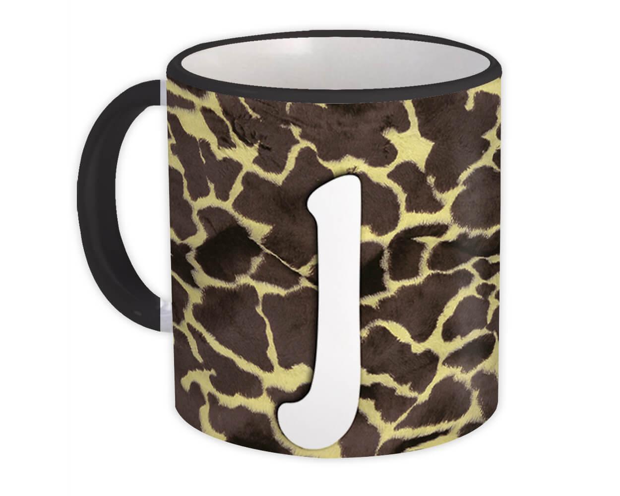 Monogram Letter J : Gift Mug Giraffe Letter Initial ABC Animal Print