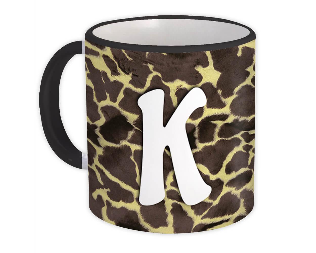 Monogram Letter K : Gift Mug Giraffe Letter Initial ABC Animal Print