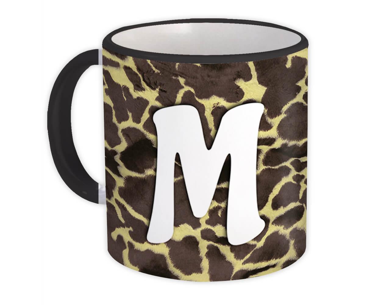 Monogram Letter M : Gift Mug Giraffe Letter Initial ABC Animal Print