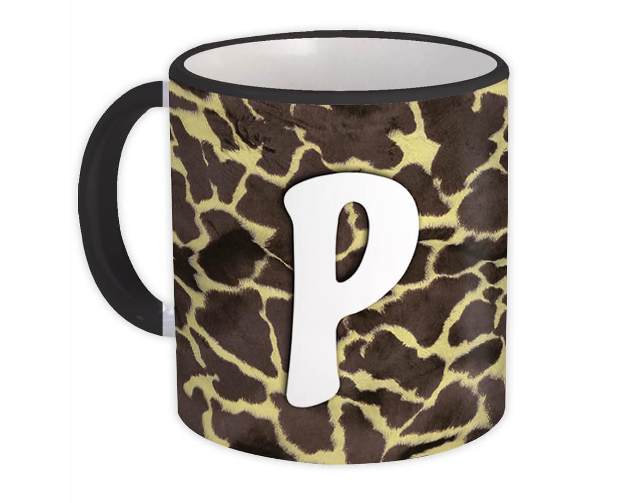Monogram Letter P : Gift Mug Giraffe Letter Initial ABC Animal Print