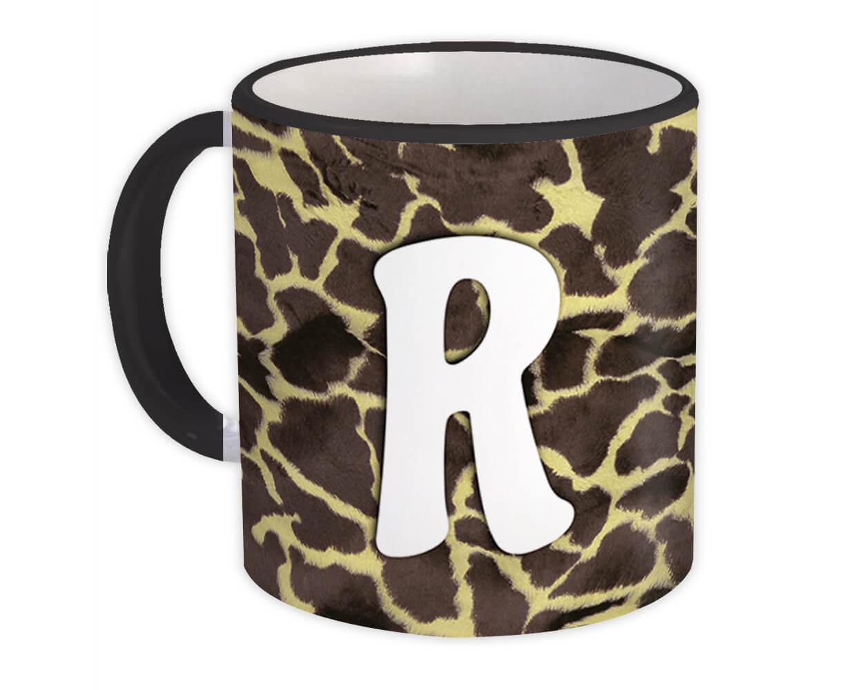 Monogram Letter R : Gift Mug Giraffe Letter Initial ABC Animal Print