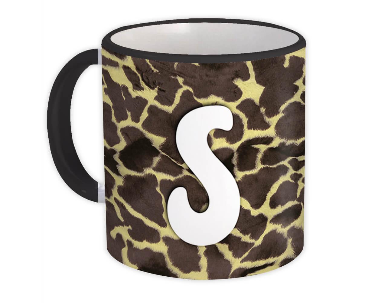 Monogram Letter S : Gift Mug Giraffe Letter Initial ABC Animal Print