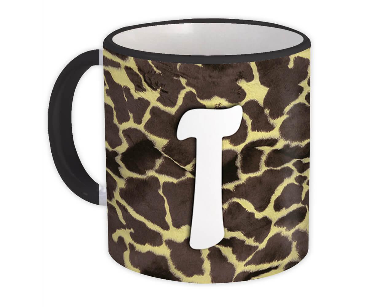 Monogram Letter T : Gift Mug Giraffe Letter Initial ABC Animal Print