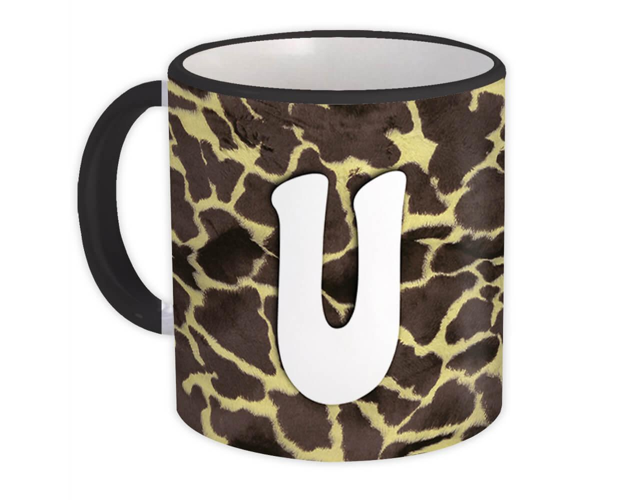 Monogram Letter U : Gift Mug Giraffe Letter Initial ABC Animal Print