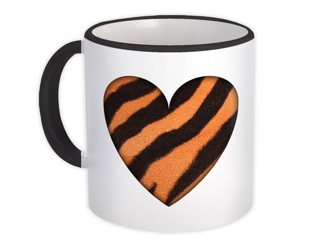 Tiger Animal Print Heart : Gift Mug Pattern For Her Feminine Modern