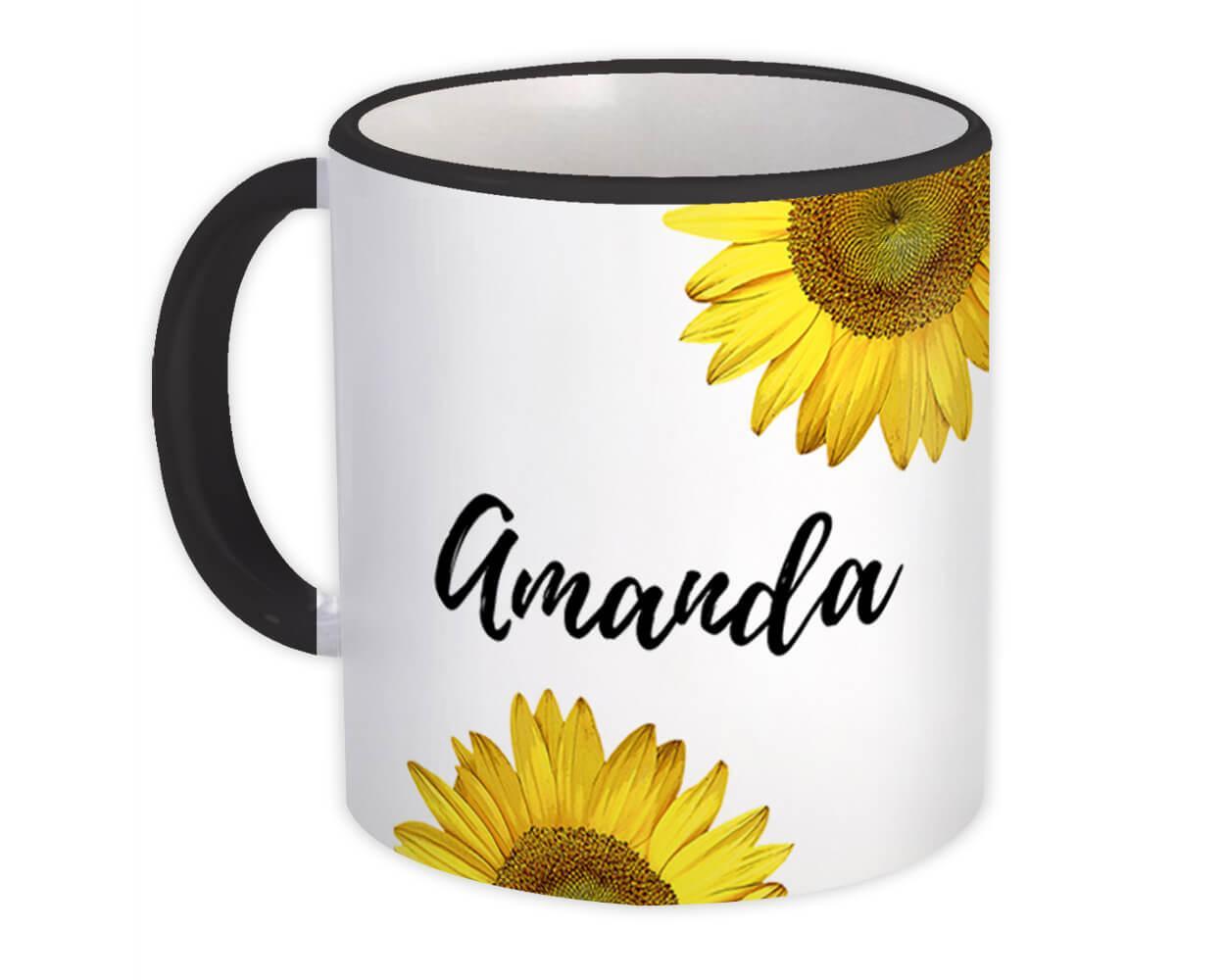 Sunflower Personalized : Gift Mug Flower Cute Beautiful Custom Name Women