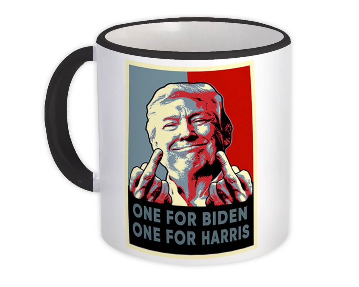 Trump Middle Finger : Gift Mug Gag One for Biden One for Harris President USA