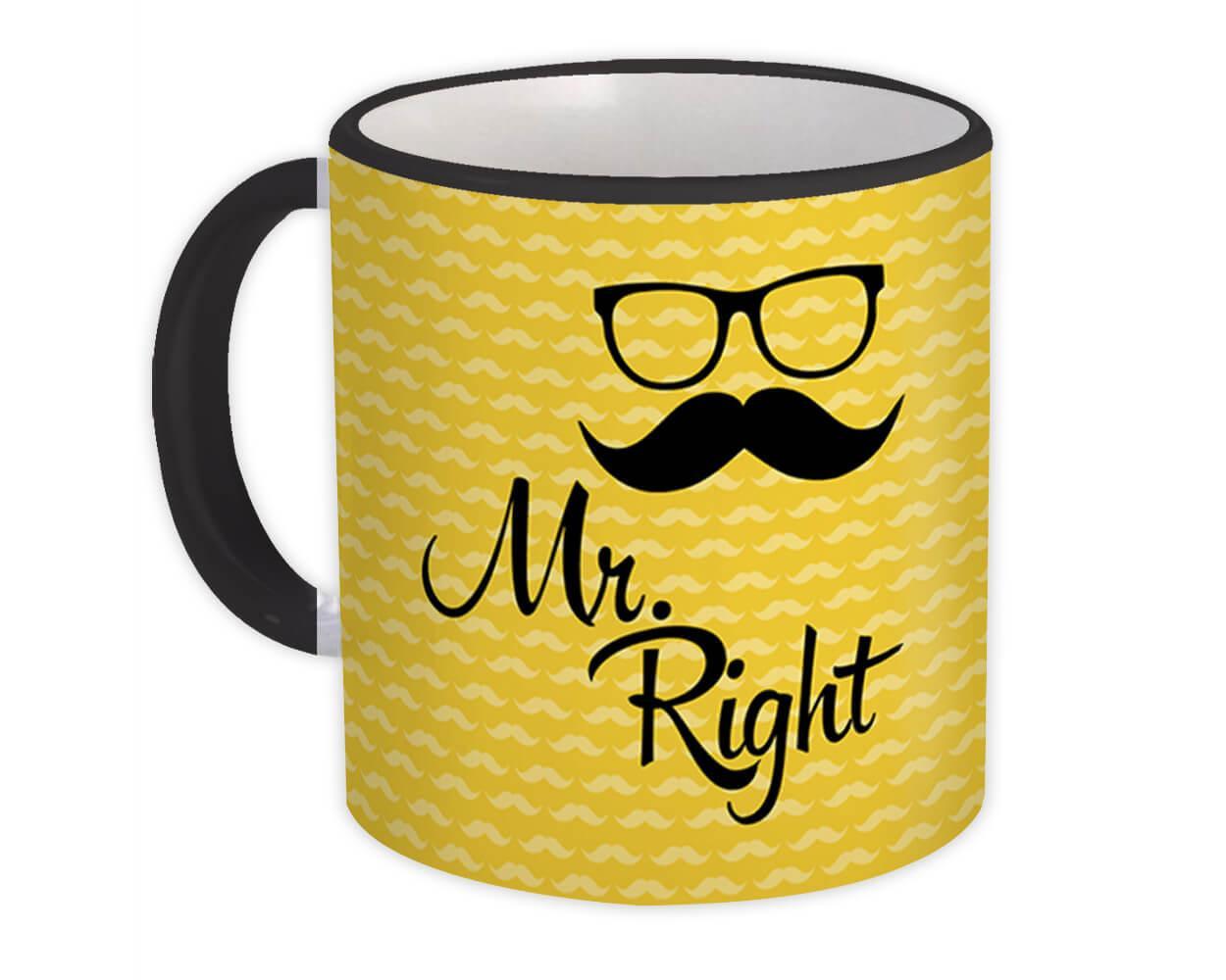 Mr Right : Gift Mug Husband Boyfriend Couple Set Decor