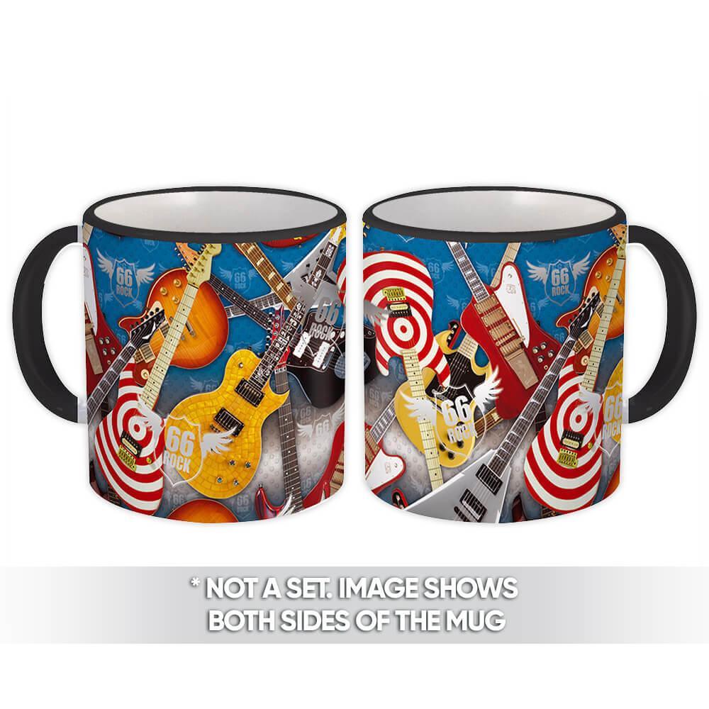Modern Guitars : Gift Mug Jeans Rock Pattern Music Teenager For Dad Room Wall Decor