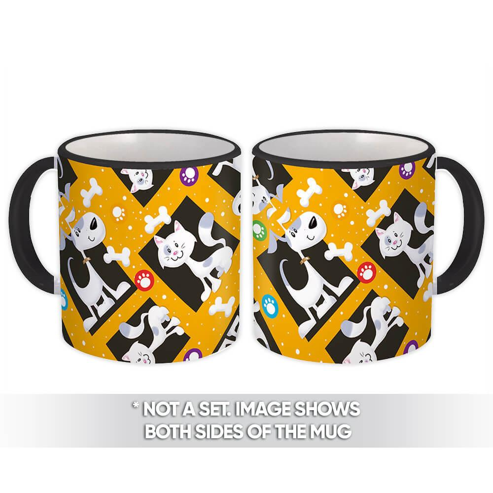 Pets : Gift Mug Pattern Cat Dog Friendship Paws Child Bones Domestic Party Decor Diy
