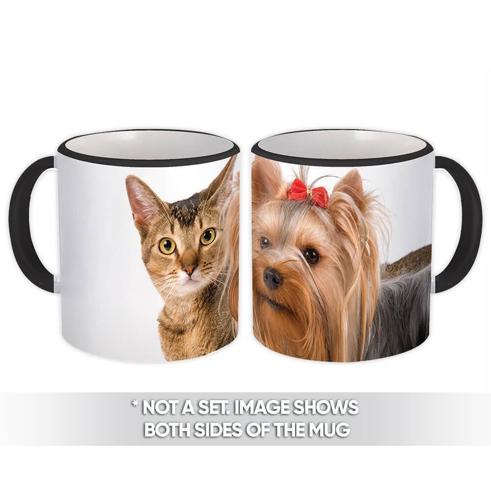 Yorkshire & Cat : Gift Mug Pet Animal Puppy Dog Kitten Cute Friends Gift