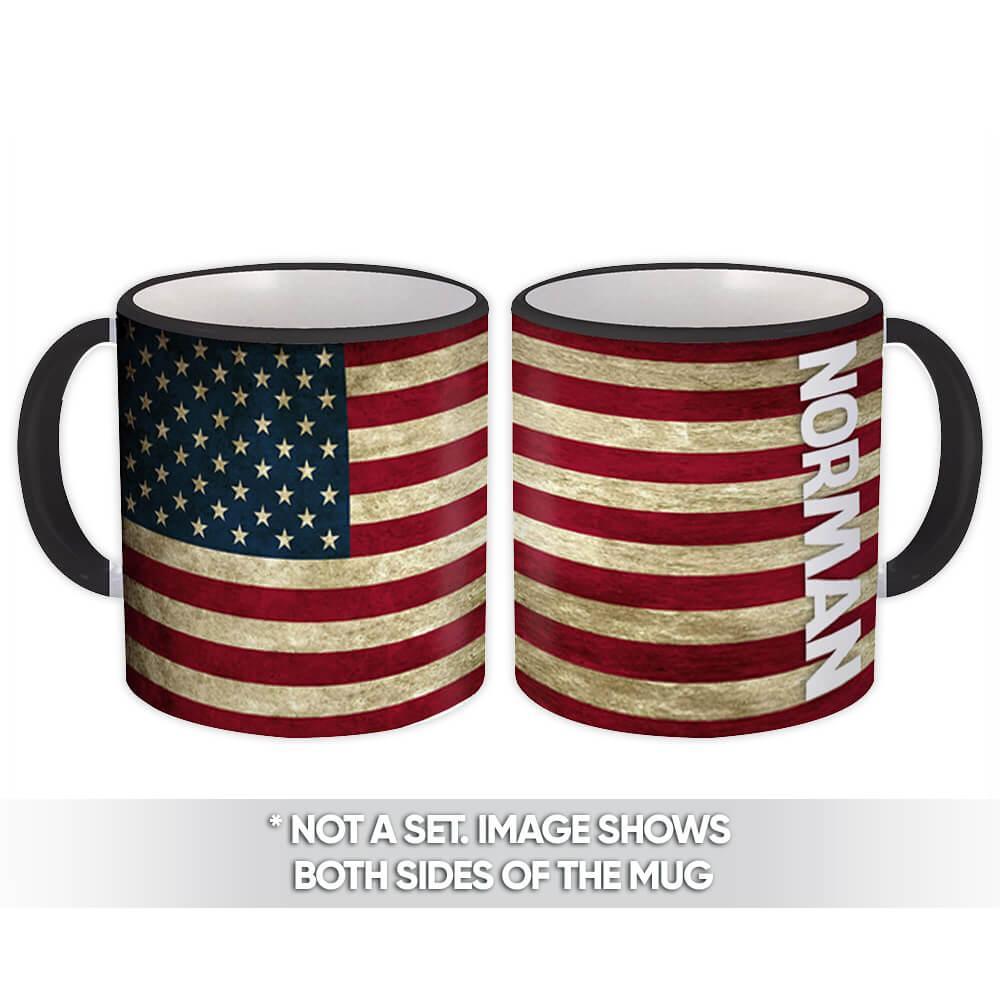 NORMAN Family Name : Gift Mug American Flag Name USA United States Personalized