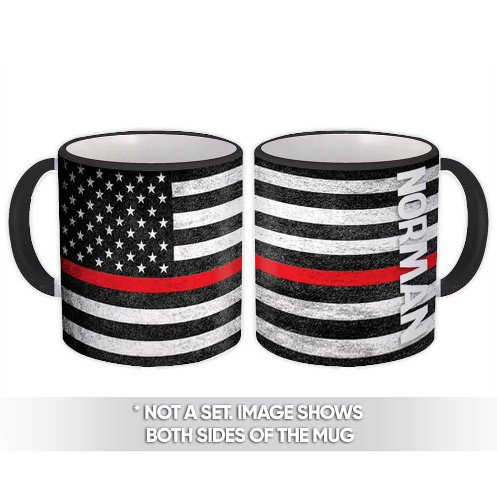 NORMAN Family Name : Gift Mug American Flag Firefighter Thin Line Personalized