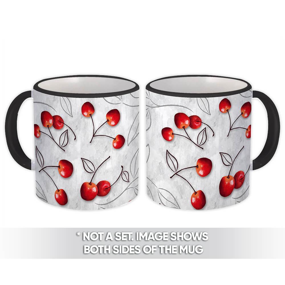 Cherries : Gift Mug Grey Pattern Fruits Leaves Kitchen Home Decor Furniture Greenery