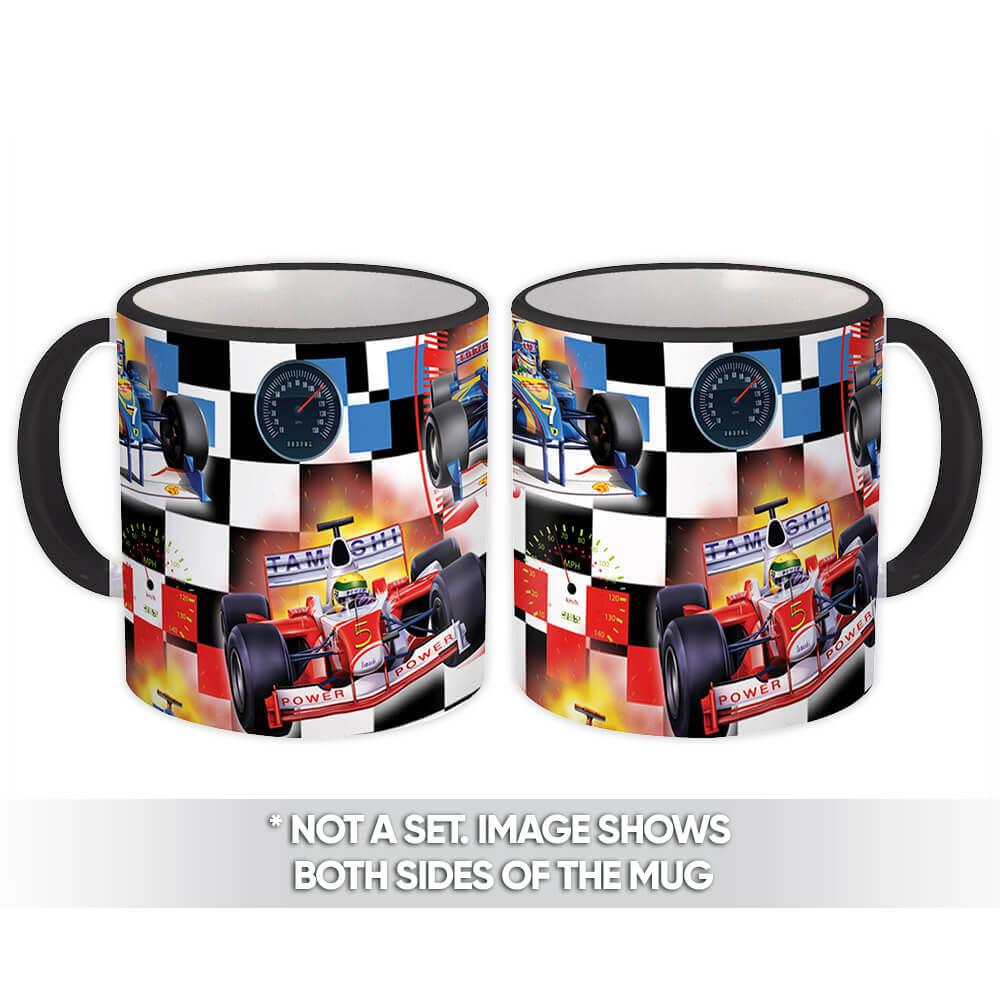 Racing Car : Gift Mug Checkered Pattern Rally Sports Kids Teenager Hobby Velocity