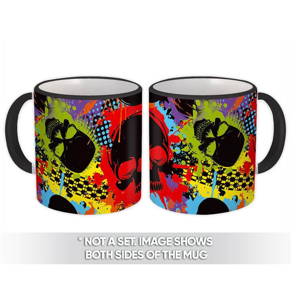 Graffiti Skulls : Gift Mug Halloween Pattern Dia De Los Muertos Colorful Rock Dead Teenager
