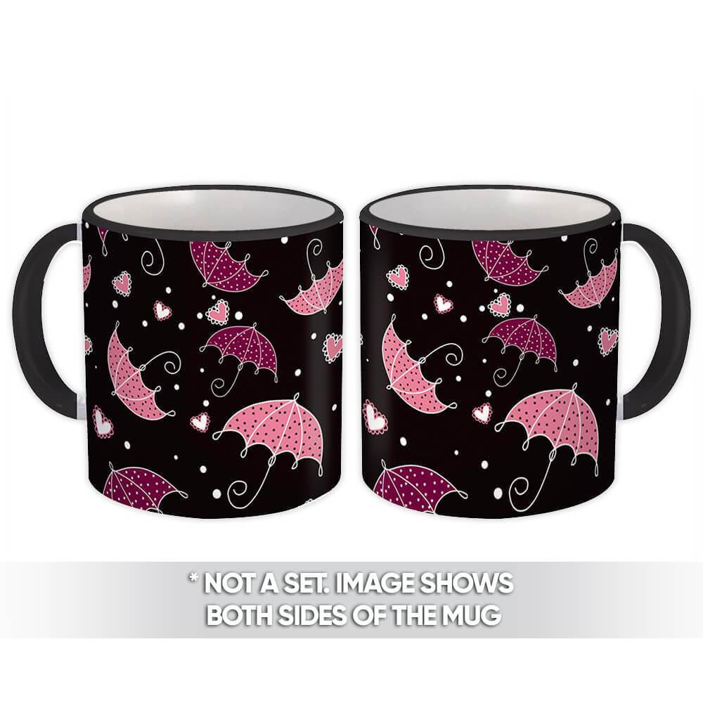 Dotted Umbrellas : Gift Mug Black Pattern Heart Rain Girl Sweet 16 Kids Decoration Diy
