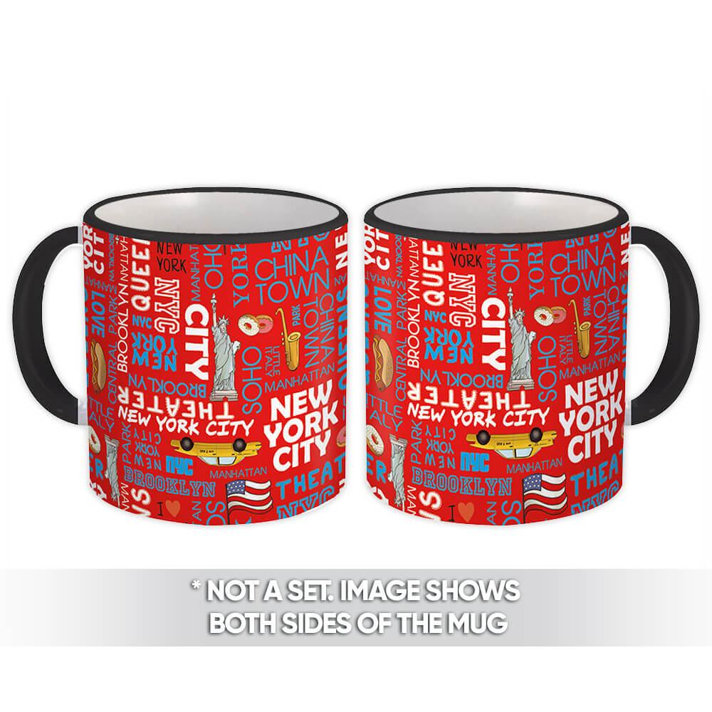 New York City : Gift Mug Trip Big Apple Taxi Sax USA Flag Pattern Accessory Decor Love