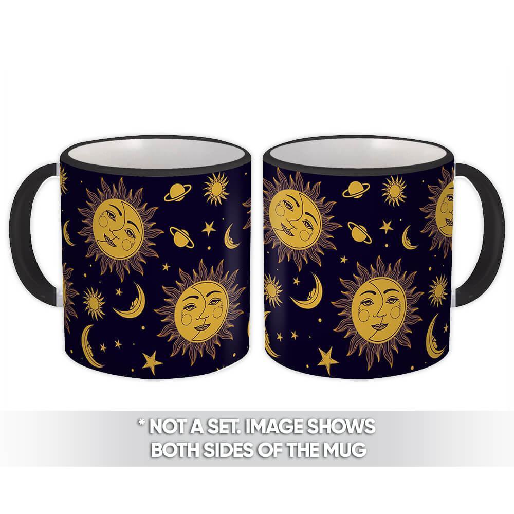 Sun & Moon : Gift Mug Patterned Esoteric Yoga Stars Blue Hippie