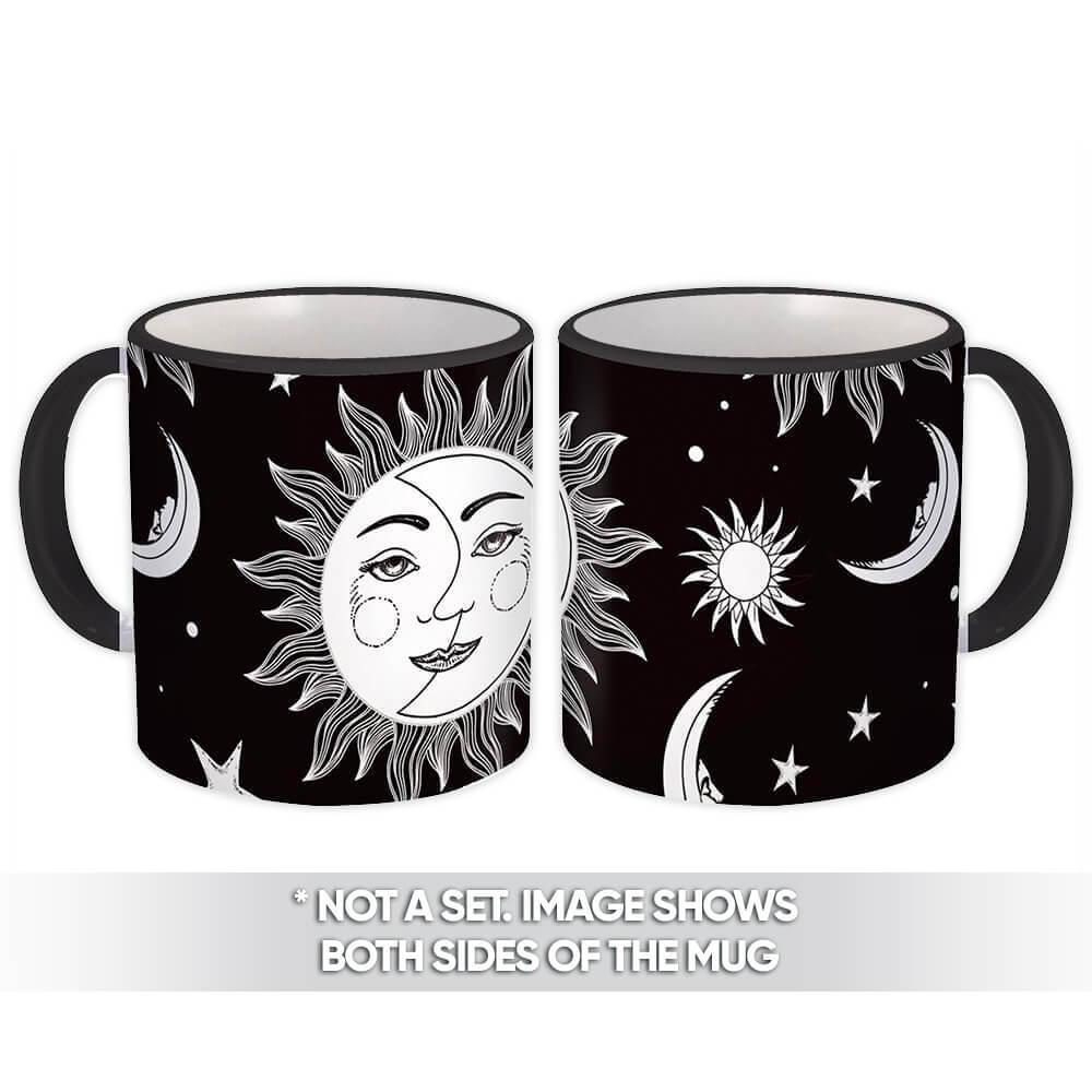 Half Moon Sun : Gift Mug Black White Pattern Stars Saturn Jupiter Ceiling Decor Face Kids