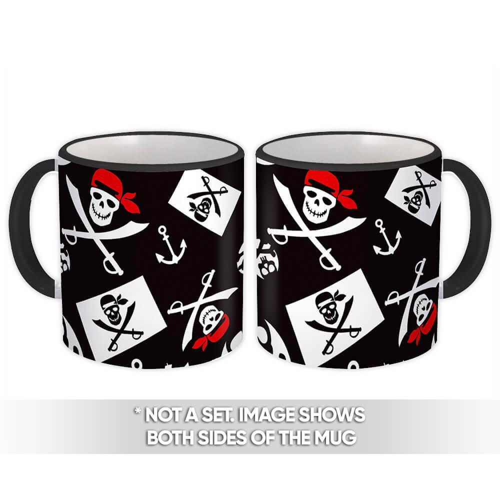Pirate Flag : Gift Mug Child Jolly Roger Skulls Anchor Sea Pattern Kids Party Decor Diy