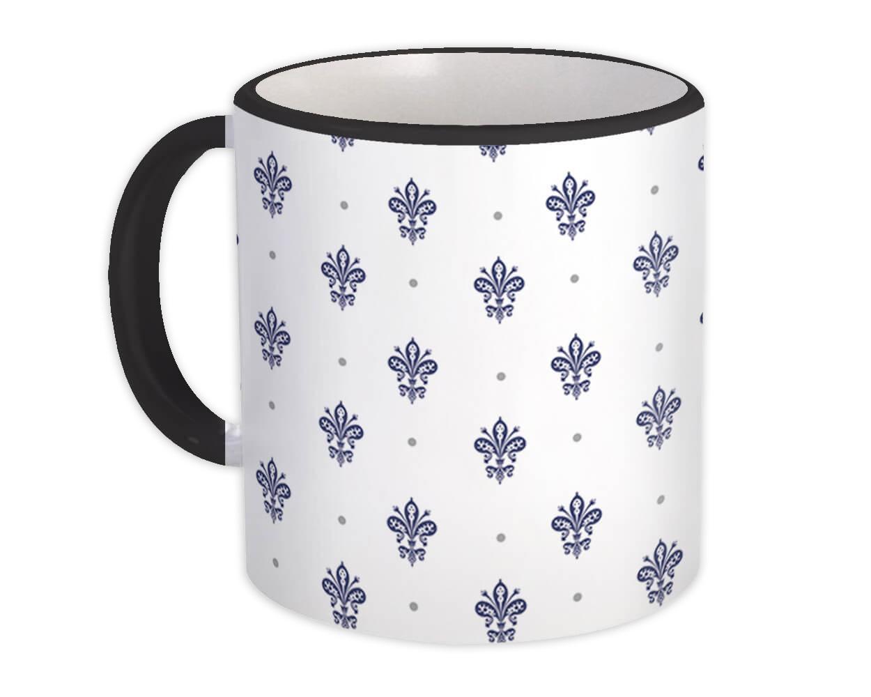 Fleur de Lis : Gift Mug Classic Home Decor Abstract Pattern Shapes Neutral