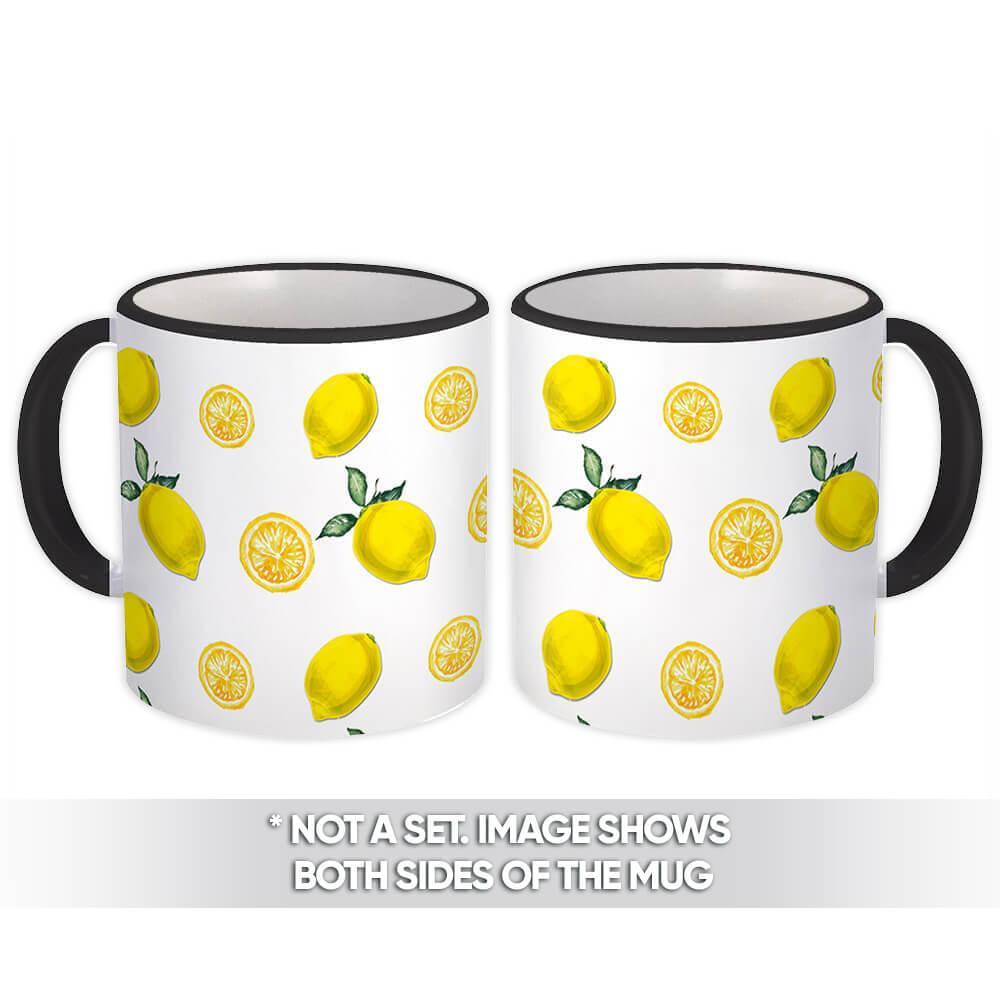 Yellow Lemon : Gift Mug Citrus Summer Holiday Clean Pattern Kitchen Home Decor Garden