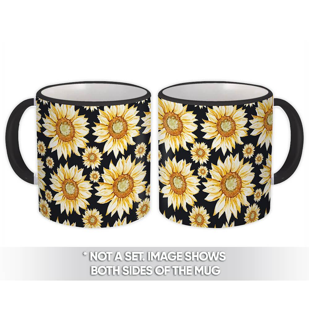 Repeatable Sunflower Pattern : Gift Mug Drawing Black Kitchen Cloth Decor Rustic Home