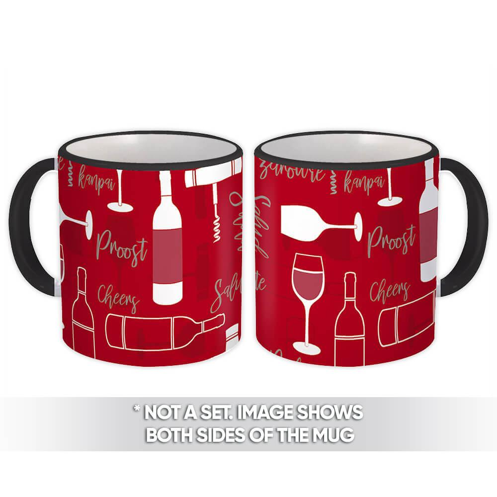 Corkscrew Bottle : Gift Mug Red Pattern Wine Glass Salute Kitchen Wall Decor Valentine