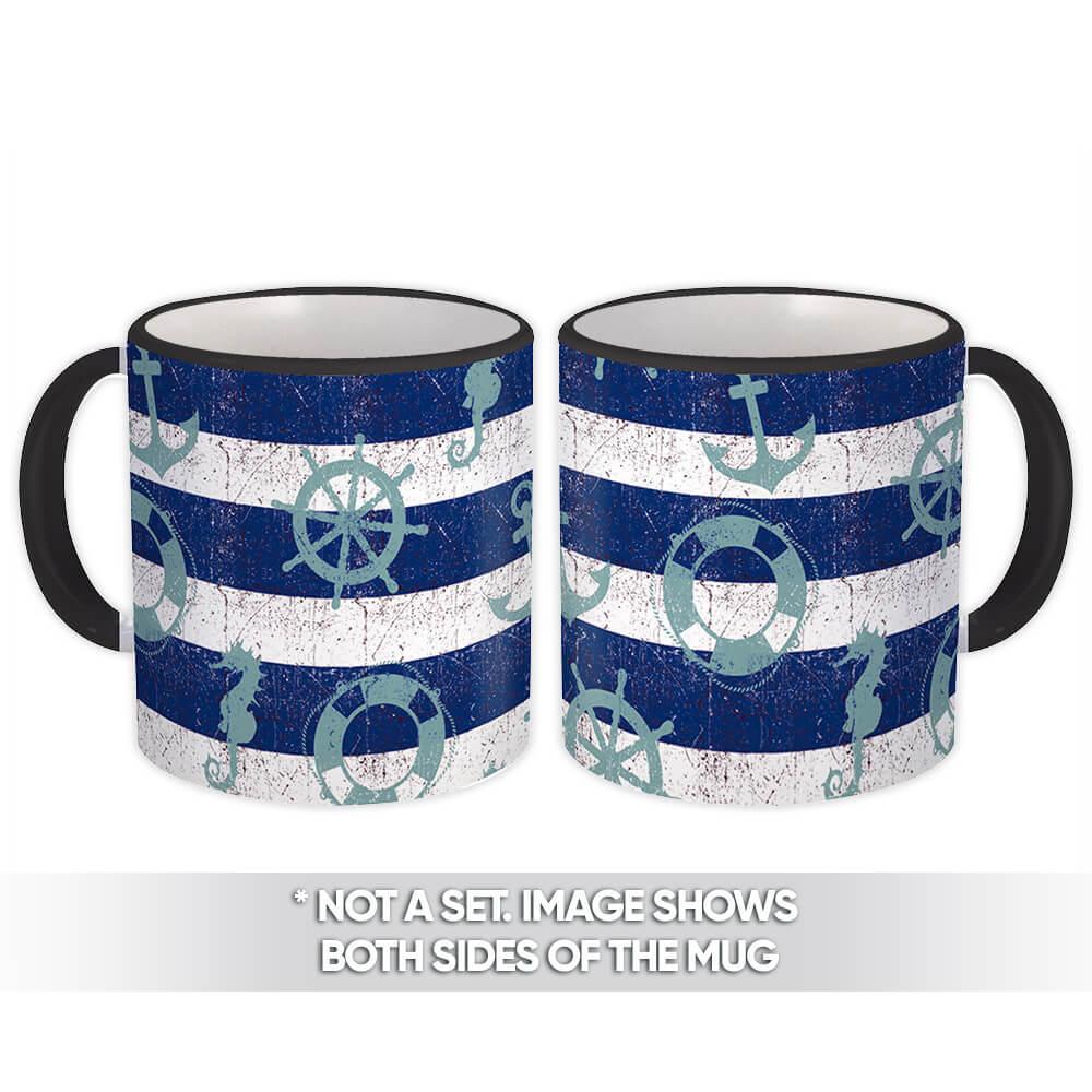 Retro Maritime Pattern : Gift Mug Marine Nursery Kids Room Decor Seahorse Lifebuoy Anchor
