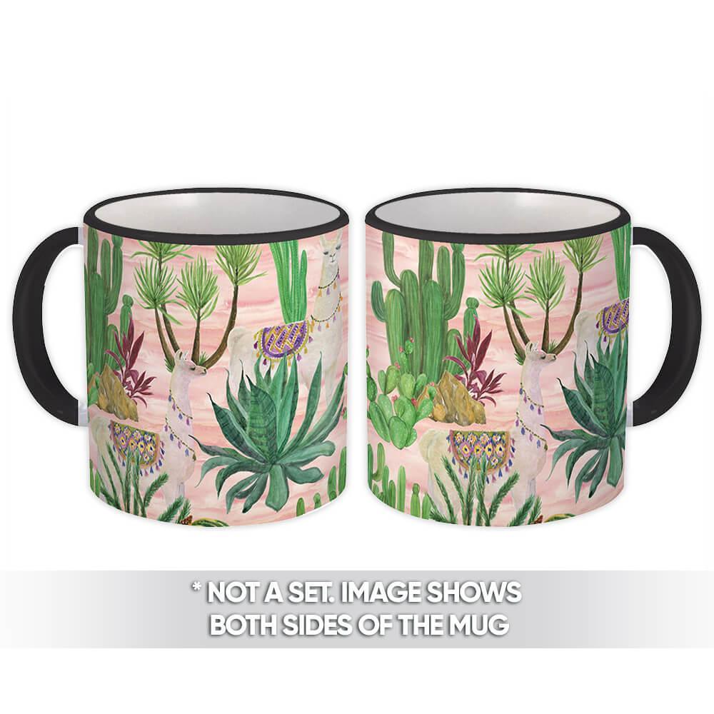 Cactus Llama : Gift Mug Pattern Plants Succulent Pink