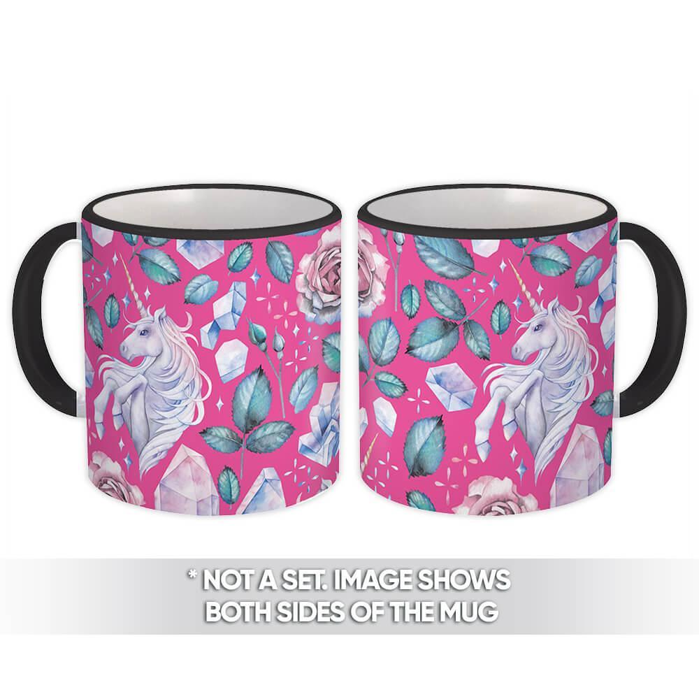 Fairytale Unicorn : Gift Mug Sweet Fifteen Girlish Crystals Fantasy Pattern Friendship