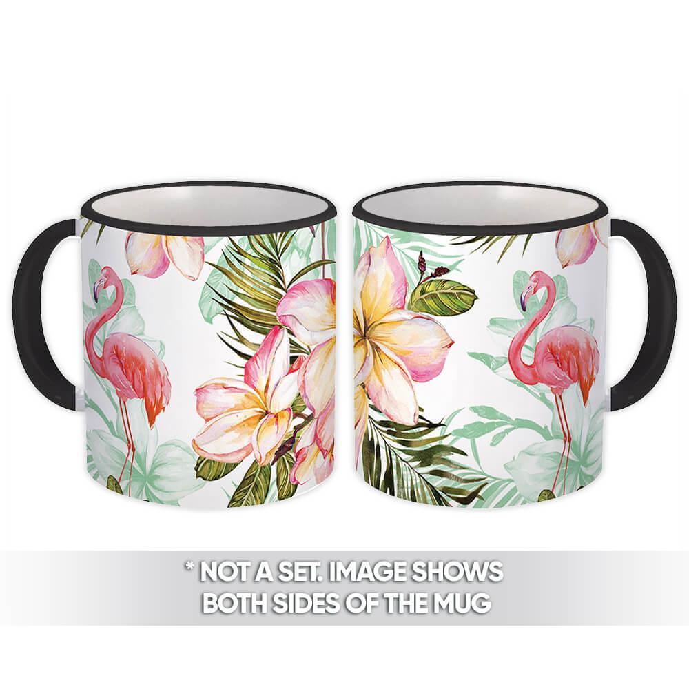 Flamingo In Flowers : Gift Mug Bird Hibiscus Pattern Tropical Flower Leaves Watercolor