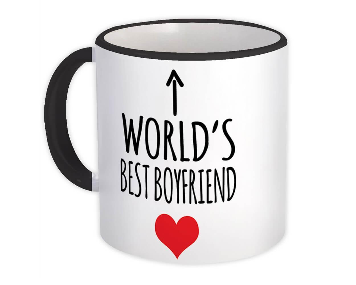 Worlds Best BOYFRIEND : Gift Mug Heart Love Family Work Christmas Birthday